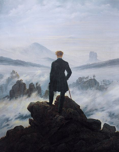 What drove this man to climb up here? What are his thoughts? (Image via Wikipedia; artwork by Caspar David Friedrich)